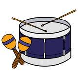 Trommel- und maracasinstrumente musikalisch stock abbildung