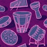 Trommeln eingestellt Musikalischer Hintergrund perkussion Verschiedene Varianten der Farbe sind möglich Lizenzfreie Stockfotografie