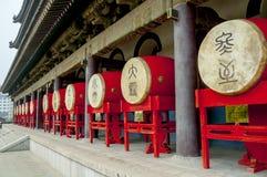 Trommeln im Glockenturm in Xian Lizenzfreie Stockbilder