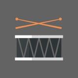 Trommeln mit Stock-Ikonen-Griff-Musik-Instrumenten lizenzfreie abbildung