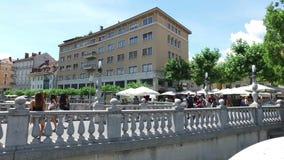 Tromostovje, Triple Bridge of Ljubljana on the river Ljubljanica, center of the city. Slovenia stock video footage