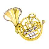 Trompa francesa de cobre da banda filarmônica da aquarela Fotografia de Stock
