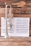 Trompet en muzieknotenbladen royalty-vrije stock afbeelding