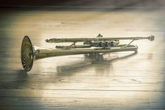 Trompet Houten Vloer Royalty-vrije Stock Afbeelding