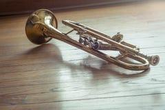 Trompet Houten Vloer Stock Afbeelding