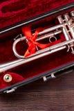Trompet of kornet in fluweelgeval royalty-vrije stock fotografie