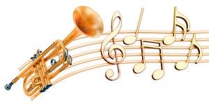 Trompet met muzieknota's Muzikaal concept, het 3D teruggeven royalty-vrije illustratie