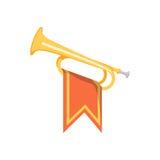 Trompet met vlagpictogram vector illustratie