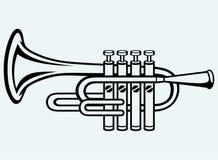 Trompet, muzikaal instrument stock illustratie