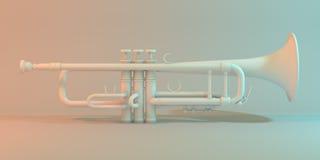 Trompet op een witte 3d illustratie als achtergrond Royalty-vrije Stock Fotografie