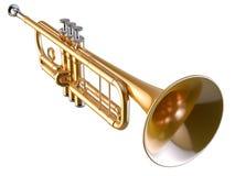 Trompet op wit wordt geïsoleerd dat Royalty-vrije Stock Foto
