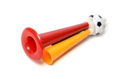 Trompet van de voetbal de drievoudige ventilator Royalty-vrije Stock Foto's