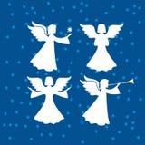 Trompeta celestial de los ángeles y con una estrella ilustración del vector