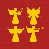 Trompeta celestial de los ángeles y con una estrella stock de ilustración