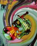 Trompeta coloreada Foto de archivo libre de regalías