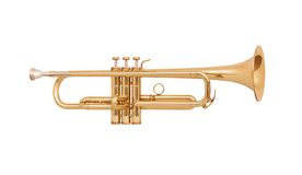 Trompeta de cobre amarillo aislada en blanco Fotografía de archivo libre de regalías