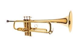 Trompeta de cobre amarillo aislada en el fondo blanco foto de archivo libre de regalías