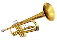 Trompeta de cobre amarillo en el fondo blanco Imagen de archivo