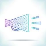 Trompeta de discurso geométrica Imágenes de archivo libres de regalías