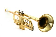 Trompeta del oro Fotos de archivo libres de regalías