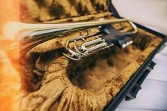 Trompeta del oro del vintage en caso de que Fotos de archivo libres de regalías