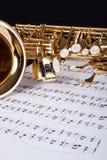 Trompeta y nota musical Foto de archivo libre de regalías