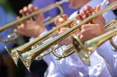 Trompetas en orquesta Fotografía de archivo libre de regalías