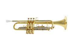 Trompete auf weißem Hintergrund Stockfotografie