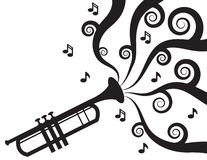 Trompete, die Musik-Schattenbild spielt Stockbilder