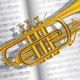 Trompete und Anmerkungen Stockfotos