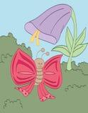 Trompeten-Blume und Schmetterling Stockbilder