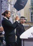 Trompeter und Saxophonist führt an einem Konzert mit Antony Stro durch Lizenzfreies Stockfoto