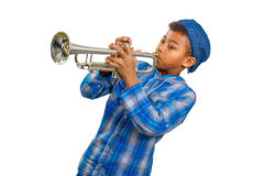 Trompetista del muchacho Imágenes de archivo libres de regalías