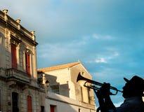Trompetista em França Foto de Stock Royalty Free