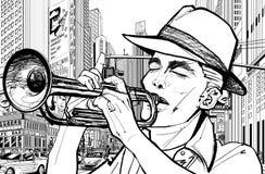 Trompetista en Nueva York stock de ilustración