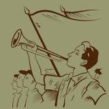 Trompetista joven stock de ilustración