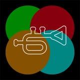 Trompetpictogram - muziekinstrument - het pictogram van de jazzmuziek vector illustratie