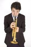 trompette avant de joueur photographie stock libre de droits