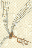 Trompette avec des musiques illustration de vecteur
