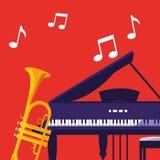 Trompette et musical d'instruments de piano à queue illustration de vecteur