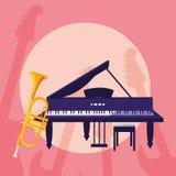 Trompette et musical d'instruments de piano à queue illustration stock