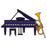 Trompette et musical d'instruments de piano ? queue illustration stock