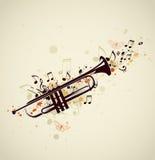 Trompette et notes abstraites illustration libre de droits