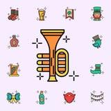 Trompette, ic?ne d'instrument Ensemble universel d'ic?nes de jour de StPatricks pour le Web et le mobile illustration libre de droits