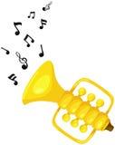 Trompette mignonne avec la mélodie illustration de vecteur