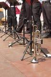Trompette sur l'étape de concert Représentations musicales Images libres de droits