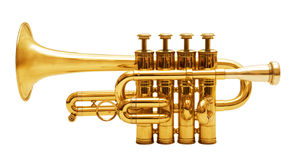 Trompetten die op wit worden geïsoleerd0 Stock Fotografie