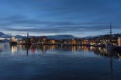 Tromsø harbour winter afternoon. Norway; Norwegian; Scandinavia; Scandinavian; Europe; Tromso; Tromsø harbour in winter afternoon. Tromsø lies in stock photo