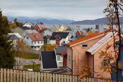Tromse, Noorwegen Één van het district in Moskou royalty-vrije stock foto's
