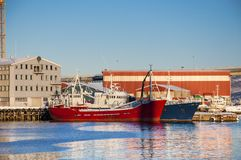 在Tromso端口的船 库存图片